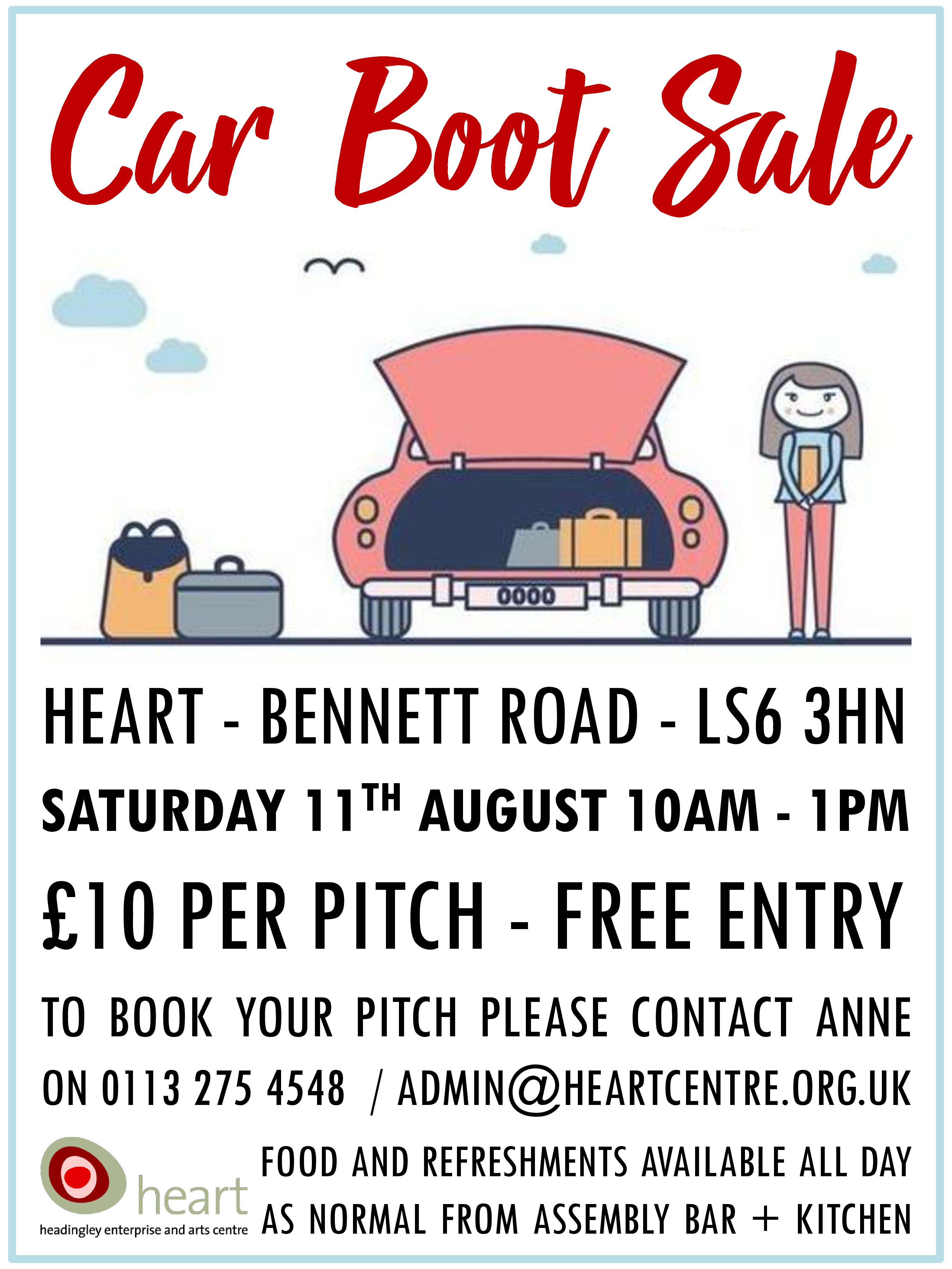 Car Boot Sale Poster August 2018 JPG - Heart Centre